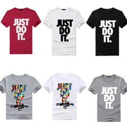 Wholesale Dryer Clothes - New Fashion Men's Fashion Clothing Short Sleeve T Shrits With Letter Just Do it Print Hip Hop Men Streetwear Asian Size Run Small M-XXXL