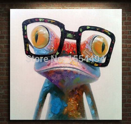 Wholesale Dr Painting - Framed hand painted large modern abstract Cartoon animal Dr. Frog oil painting on canvas wall art picture living room decoration
