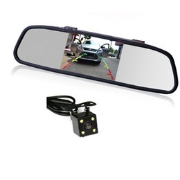 "Wholesale Car Backup Camera Monitor System - HD Video Auto Parking Monitor LED Night Vision Reversing Car Rear View Camera with 4.3"" Rearview Mirror Monitor Display Backup System"