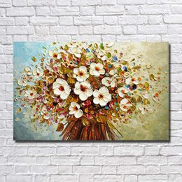 Wholesale modern abstract painting flowers - Flower Painting Wall Art Home Decoration Abstract Modern Oil Painting for Living Room Decoration Hand Painted Knife Oil Painting on Canvas