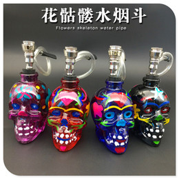 Wholesale Flower Skulls - 2016 newest skull glass smoking pipes Flower skull bongs Filter glass pot of water pipe 125mm height 4 colors free shipping