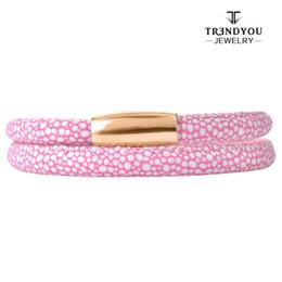 Wholesale Bracelet Box Pink - Wholesale- TRENDYOU Jewelry Pink And White Point Double Layers Couples Bracelets Grade PU Bracelet For Endless Bracelet Women ELBS15047