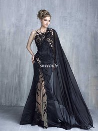 Wholesale Tulle Bateau Fashion White Chiffon - 2017 Tony Chaaya Mermaid Evening Dresses Sexy Black Lace Appliques Prom Gowns With Cape Illusion Tulle Beaded Applique Celebrity Formal Wear