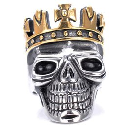 Wholesale Crown Rings For Men - Punk Skeleton Skull with Crown Rings Gothic Stainless Steel Men's Biker Ring For Men Boys Jewelry