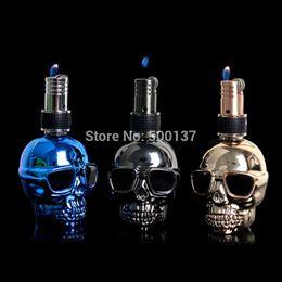 Wholesale Lighter Gas Flints Wholesale - Wholesale-Firedog Cool Skull Refillable Butane Gas Float Fire Flint Wheel Cigarette Lighter With Switch lock