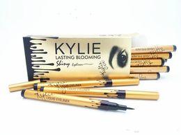 Wholesale Eyeliner Tubes - 120pcs hot sale NEW makeup KYLIE gold birthay edition tube liquid eyeliner pencil lasting blooming gold box Long-Lasting free shipping