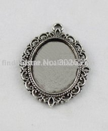 Wholesale Tibetan Picture Frame Charm - Fashion Jewelry Charms FREE SHIPPING 50pcs Tibetan sivler glue on bail picture frame Cabochon Settings Pendant Trays oval charm A11665