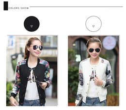 Wholesale Coats Flower Woman - Brand Tops 2016 Flower Print Girl Plus Size Casual Baseball Jacket Women Sweatshirts Button Thin Bomber Jacket Long Sleeves Coat