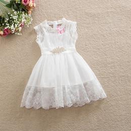Белый цветок девушка платья стразы онлайн-Детские девушки принцесса платье белый цвет дети кружева юбки с горный хрусталь пояса дети девушка свадебное платье цветок девушки платья