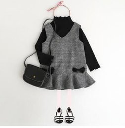 Wholesale Preppy Clothing - Kids Outfits Girls Ruffle lace Long Sleeve Bottoming-Shirt+V-Neck Bowsnot Sleeveless Dress 2Pcs Sets Child suits Kids Princess Clothes G1241