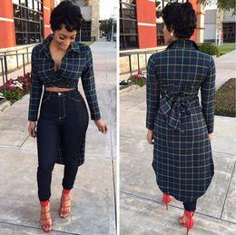 Wholesale Sexy Plaid Mini Skirt - 2016 New Fashion Clubwear European and American Dresses Lapel long swallowtail plaid shirt skirt After long sleeved shirt tie dresses XD113