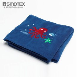 Wholesale Embroidered Baby Sheets - 1pcs lot Sea Creature Baby Sheet Kids Blanket 127cmx152cm Oblong Coral Fleece Cartoon Embroidered Soft Home Child Warm cobertor