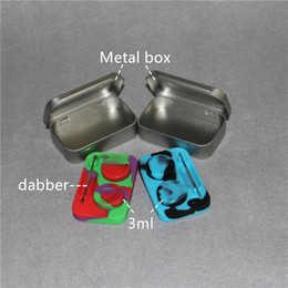 Wholesale waxing iron - 2 in1 iron box contain 2pcs 3ml silicone bho Containers and 1pcs dabber tool silicone container for wax silicone jars dab wax container