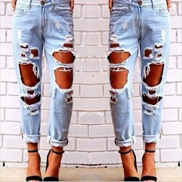 Wholesale New Style Women Jeans - Hug Me Women The big hole Jeans Pants 2016 New Lady Fashion Tassel Hole Vintage Tie Dye BB-1069