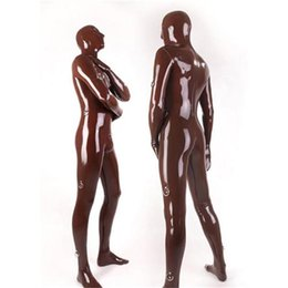 Wholesale Sexy Red Latex Bodysuit - Wholesale-Black Sexy Latex Full Cover Catsuit With D-rings Natural Latex Zentai Catsuit for Men Bodysuit Sexy Catsuit Costumes