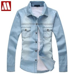 Wholesale Xxl Dress Western - 2016 Spring Men Denim Jeans Shirt European Style Casual Shirt Western Fashion Shirts for Male Free Shipping Asia S-XXL MCL139