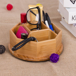 Wholesale Makeup Table Organizer - 1PCS Bamboo Rotatable Storage Box 5 Slots Table Decor Cosmetics Holder Multiple-Use Sundries Stationery Makeup Cosmetic Organizer