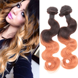 Wholesale Two Full Heads Extensions - Ombre Color Hair 8A Virgin Brazilian Body Wave Two Tone Hair Extensions Full Head 2Pcs lot 100% Remy Human Hair Weave Weft