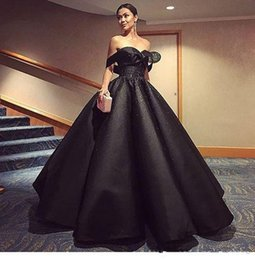 Wholesale Ruffle Skirt Evening Gown - 2017 Black Ball Gown Evening Dresses Off Shoulder Shining Crystal Sequined Prom Dress Ruffle Puffy Skirt Custom Made Special Occasion Dress