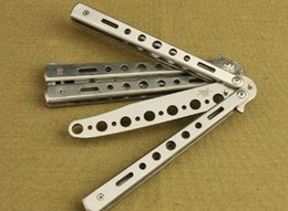 Wholesale Aluminum Metal Blade - METAL STEEL FOLDING TYPE BENCHMADE c27 PRACTICE BUTTERFLY KNIFE TRAINER BOTTLE OPENER BALISONG EXERCISE SILVER