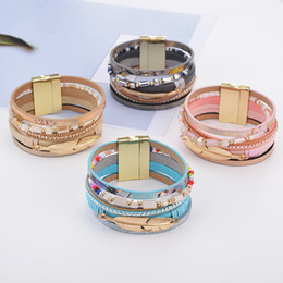 Wholesale crystal leather cuff - Crystal Gold Leaf Feather Charm Bracelet Magnetic Multilayer Wrap Bracelets Wristband Cuffs for Women Fashion jewelry 162474