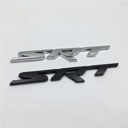 Wholesale Stickers For Car Badge Emblems - New Brank 1Pcs Metal 3D SRT Emblem Chrome Badge Side Logo Car Stickers Decal For Dodge Ram Challenger Charger