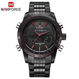Wholesale Men S Sport Clock - Naviforce 2017 New Luxury Brand Dual Time Clock Fashion Full Stainless Steel Men 'S Watch Army Male Sport Wristwatch Waterproof