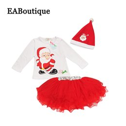 Wholesale Beautiful Girl Skirt Long - Kids Girls New Fashion Christmas costume Beautiful mesh tutu skirt with long sleeve T-shirt christmas hat 3 piece set
