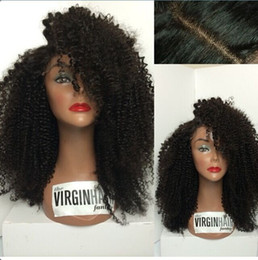Wholesale Ombre Glueless Silk Top Wigs - Freeshipping!!Afro Kinky Curly Human Hair Glueless 4*4 Silk top Full lace wigs Best natural looking hairline&SKin Color