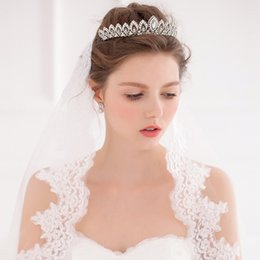 Wholesale Wedding Beads For Hair - Queen Wedding Accessories Bridal Tiara for Bride 2016 Beads Crystal Bridal Hair Embellishments in Silver O320