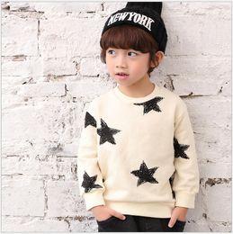 Wholesale Korean Sweater Fashion Boys - 2016 New Autumn Boys Stars Printed Pullover Fashion Kids Long Sleeve Sweatshirts Children Cotton Sweaters Korean Style Boy T-shirts Shirts