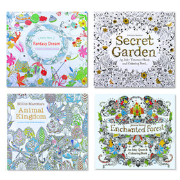 Wholesale Boys Baby Book Years - DHL Shipping Secret Garden Kids Coloring Book 24 Pages Animal Kingdom Enchanted Forest Fantasy Dream Painting Drawing Book For Baby Adult