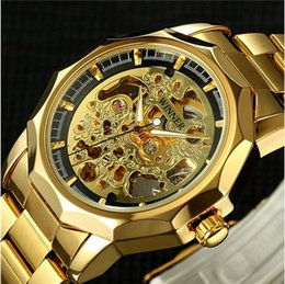 Wholesale Winner Skeleton Silver Automatic - 2017 Winner Men Golden Watches Male Business Military Skeleton Wristwatches Automatic Mechanical Watches Steel relogio masculino
