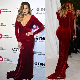 Wholesale Black Velvet T Shirt - Oscar Khloe Kardashian Wine Red Velvet Plus Size Formal Evening Dresses 2016 Plunging Neckline Sheath Celebrity Party Gowns Red Carpet Dress
