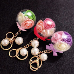 Wholesale Green Preserves - Preserved Flowers with Pearl Crystal Balls Metal Keychain Keyring Car Keychains for Wedding Party Holiday Birthday Velentine's Day Gift