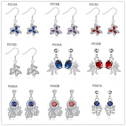 Wholesale Fashion Cheap Earrings Sale - factory direct sale fashion women's gemstone 925 silver earring 10 pairs mixed style,cheap sterling silver Dangle Chandelier earrings GTP6