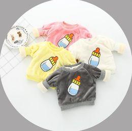 Wholesale Cute Small Boys - 2017 Ins autumn kids girl boy hot cute Cartoon pattern Small bottle print cotton child pullover With velvet warming Hoodies & Sweatshirts
