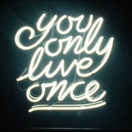 "Wholesale Only Place - YOU ONLY LIVE ONCE Custom Neon Light Sign Store Display Club Beer Bar Real Glass Tube Neon Signs Free Design 17""x14"""