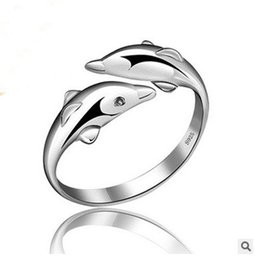 Wholesale Sterling Silver Rings Wholesale Usa - Ring S925 sterling silver jewellery ring Dolphines opening adjustable ring for women Christmas gift rhodium plating USA style free shipping