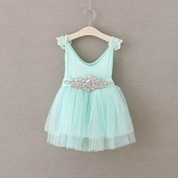 Wholesale Ribbon Clothing Brand - Girls Princess Dresses Rhinestones Sash Gauze TUTU Dress Children Clothing 2-7Y 16881