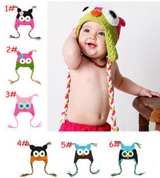 Wholesale Cartoon Character Kids Crocheted Hats - 0-3 years Cute Cartoon Kids Children Baby Girl Boy Knitted Crochet Animal Owl Hats Caps M065
