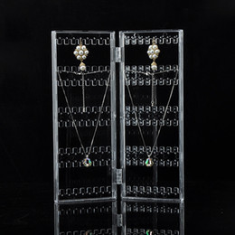 Wholesale Display Stands For Earrings - Creative Earring Organizer Folding Door Shape Jewelry Display Stand Space Saving for Earrings Necklaces Trading Show Stall Crafts Holder