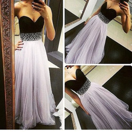 Wholesale Sweetheart Aline Prom - 2016 Simple Style ALine Tulle Prom Dresses Sweetheart Beading Crsytals Sheer Bodice Party Pageant Dress Fashion Evening Gowns
