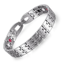 Wholesale Infrared Invisible - Stainless Steel Bracelet with Magnet Stone or Germanium White Ion and FIR Stone 4 in 1 Far Infrared Energy Magnetic Bracelet OSB-1268SFIR