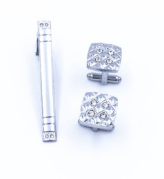 Wholesale Nickel Clips - Free shipping 1 set men's suit, shirt tie clip cufflinks suit set 4 drill steel color