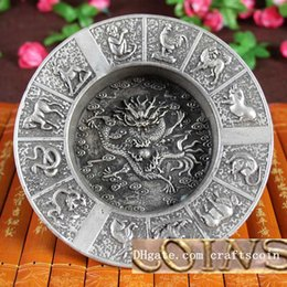 Wholesale Bowls Plate China - China Crafts & Gifts Chinese Arts Old Looking Silver Bowl Brass Plated Silver Antique Imitation Chinese Zodiac Writing-brush Washer