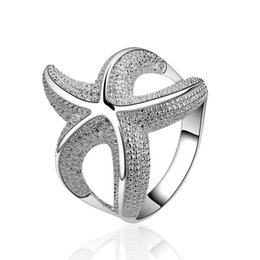 Wholesale Personalized Birthday Gifts - Rings for Women Men 925 Silver Rings Large Stock Customizable Women Personalized Fashion Starfish Birthday 925 Silver Wedding Rings