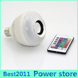 Wholesale Controller Rgb 24 - Hot Sale 6W Wireless B22 E27 LED RGB Bluetooth Speaker Bulb Music Playing Light Lamp With 24 Key Remote Controller AC100-240V