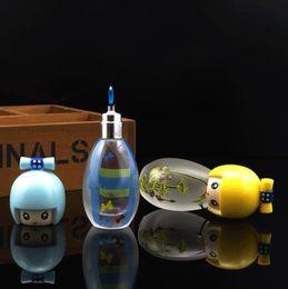 lâmpadas de vidro fosco Desconto Mini garrafa de vidro fosco portátil fogo morno pequeno fogo personalidade álcool lâmpada, tubulações de água, bongos de vidro, vidro Hookahs, cachimbo