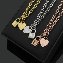 Wholesale Rose Gold Heart Lock Necklace - Gold lock and heart Pendants necklaces Titanium steel Silver Rose Gold T Love pendant Necklace For Women Fashion Jewelry Party Gift